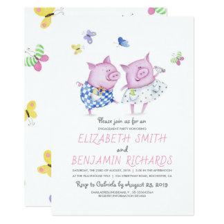 Cartão Festa de noivado bonito do doce do casal dos