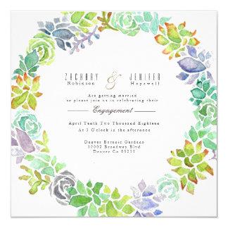 Cartão Festa de noivado da aguarela do jardim | do