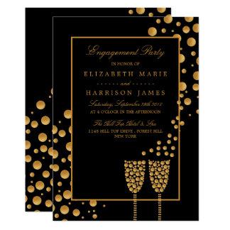 Cartão Festa de noivado das bolhas de Champagne do ouro