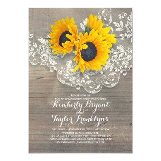 Cartão Festa de noivado de madeira do laço dos girassóis