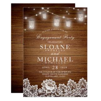 Cartão Festa de noivado de madeira rústica do laço do