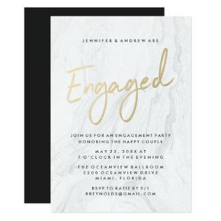 Cartão Festa de noivado de mármore branca moderna do