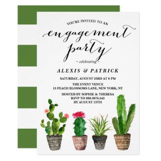 Cartão Festa de noivado do verão dos Succulents da