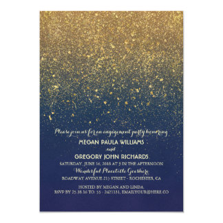Cartão Festa de noivado do vintage do brilho do marinho e