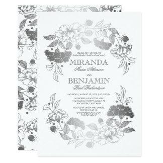 Cartão Festa de noivado elegante da grinalda floral de