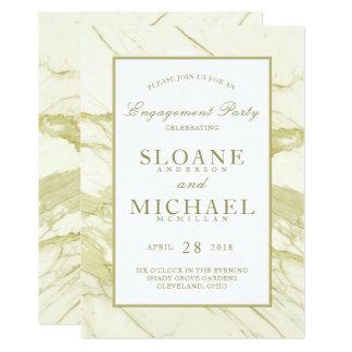 Cartão Festa de noivado elegante de mármore do ouro   de