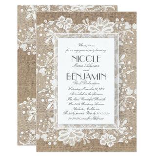 Cartão Festa de noivado elegante do casamento de