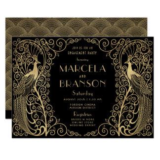 Cartão Festa de noivado elegante do ouro dos pavões do