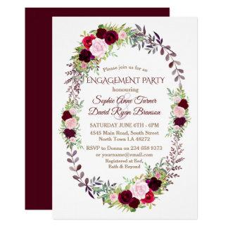 Cartão Festa de noivado floral da grinalda de Borgonha