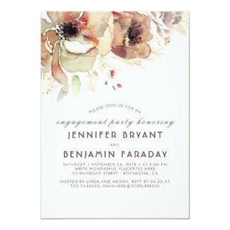 Cartão Festa de noivado floral da queda das aguarelas do
