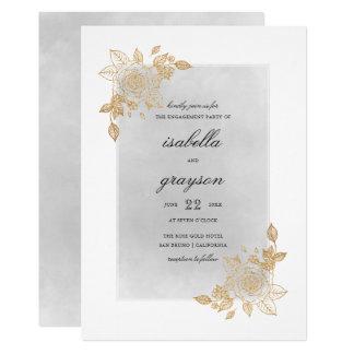 Cartão Festa de noivado floral do brilho da aguarela & do