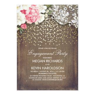 Cartão Festa de noivado floral do ouro do laço de
