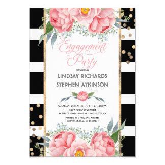 Cartão Festa de noivado floral do rosa dos confetes do