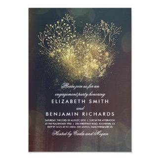 Cartão Festa de noivado floral do vintage da respiração