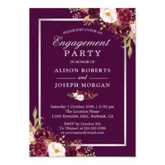 Cartão Festa de noivado floral roxa do casamento da