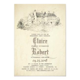 Cartão Festa de noivado idosa do vintage do castelo do
