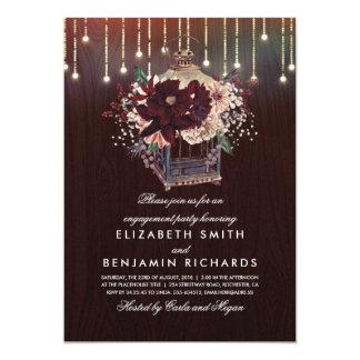 Cartão Festa de noivado rústica da lanterna floral de
