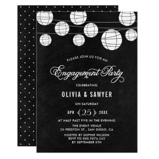 Cartão Festa de noivado rústica das lanternas de papel do