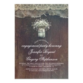 Cartão Festa de noivado rústica do frasco de pedreiro da