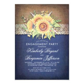 Cartão Festa de noivado rústica do marinho do girassol do