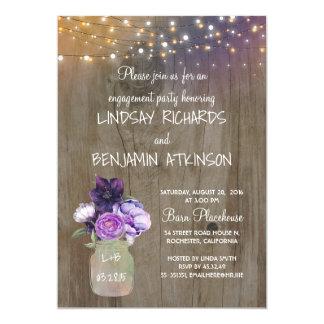 Cartão Festa de noivado rústica floral roxa do frasco de