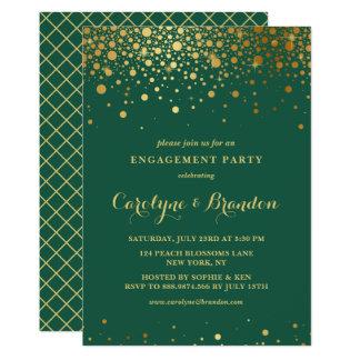 Cartão Festa de noivado verde dos confetes   da folha de