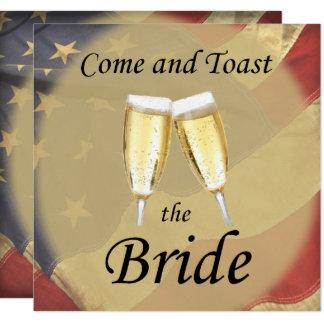 Cartão Festa de solteira da bandeira americana