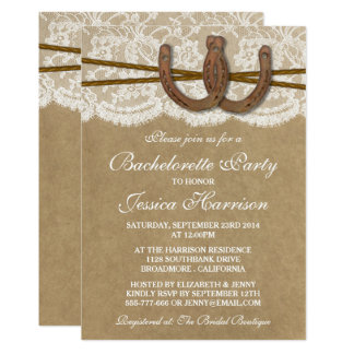 Cartão Festa de solteira rústica da ferradura de Kraft &