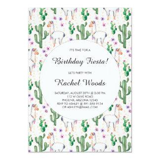 Cartão Festa do aniversário do cacto e do lama da