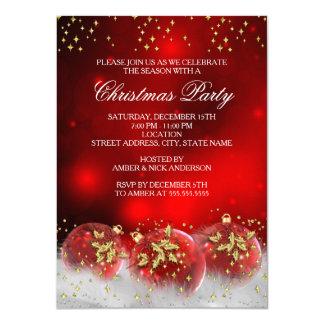 Cartão Festa natalícia vermelha do Natal dos Baubles do