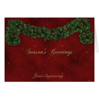 Cartão Festão do Natal no vermelho com brilho do ouro