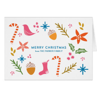 Cartão festivo do Feliz Natal dos Doodles