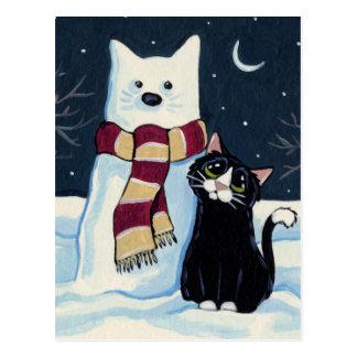 Cartão festivo do gato e do gato da neve cartão postal