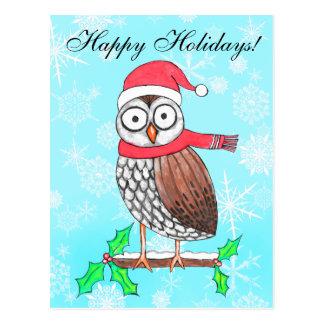 Cartão festivo dos cartões de natal da coruja cartão postal