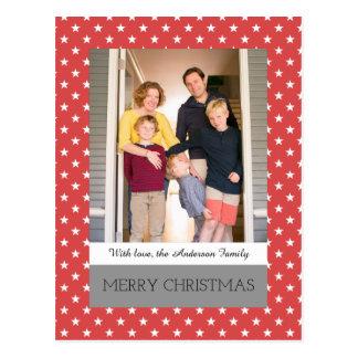 Cartão festivo vermelho da foto do feriado das