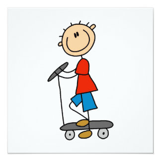 Cartão Figura menino da vara no patinete
