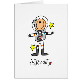 Cartão Figura t-shirt e presentes da vara do astronauta