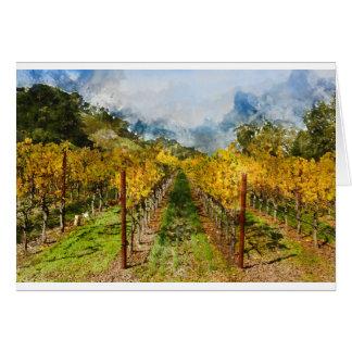Cartão Fileiras das vinhas em Napa Valley Califórnia