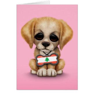 Cartão Filhote de cachorro bonito com o Tag de cão