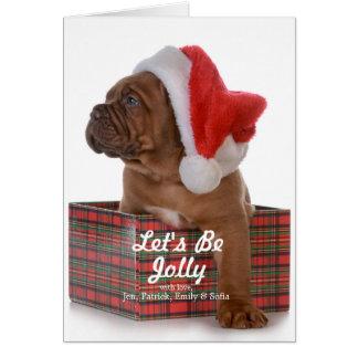 Cartão Filhote de cachorro do Natal como o papai noel