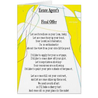 Cartão final da oferta do agente imobiliário