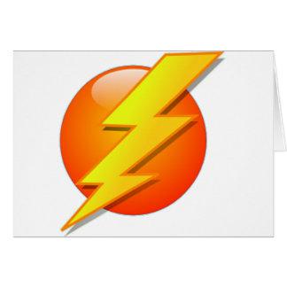 Cartão Flash do relâmpago na bola alaranjada