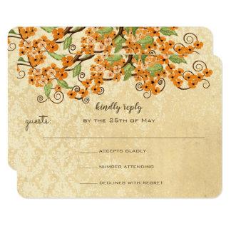 Cartão Flor alaranjada coral rústica do primavera que
