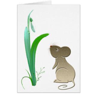 Cartão Flor da gota da neve e rato bonito