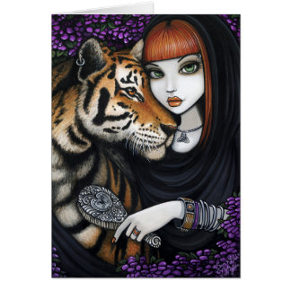 Cartão Flor Sam Lilah da fantasia das almas gémeas de Fae
