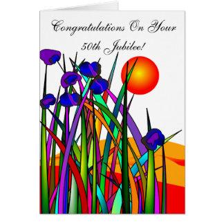 Cartão floral artística do jubileu católico da fre