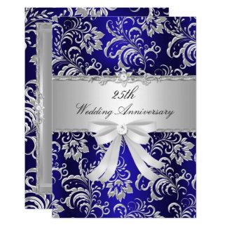 Cartão Floral azul & curva o 25o aniversário de casamento