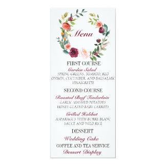 Cartão floral chique do menu do casamento de