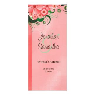 Cartão floral cor-de-rosa do modelo do programa do 10.16 x 22.86cm panfleto
