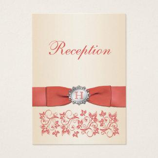 Cartão floral coral da recepção de casamento de